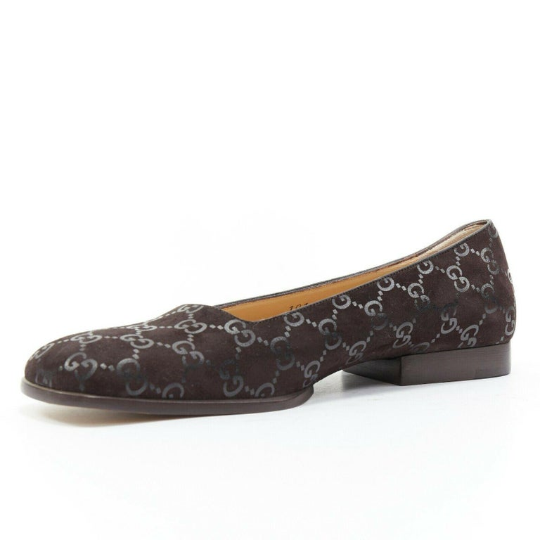 new GUCCI Vintage brown monogram printed black suede square toe loafer EU36.5C In Good Condition For Sale In Hong Kong, NT
