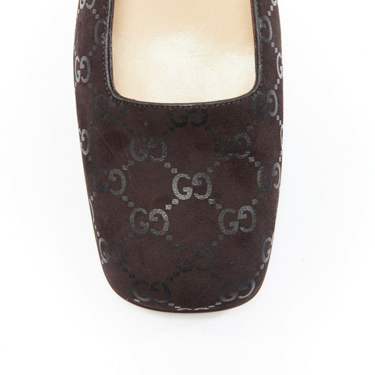 new GUCCI Vintage brown monogram printed black suede square toe loafer EU36.5C For Sale 2