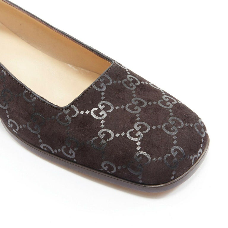 new GUCCI Vintage brown monogram printed black suede square toe loafer EU36.5C For Sale 3