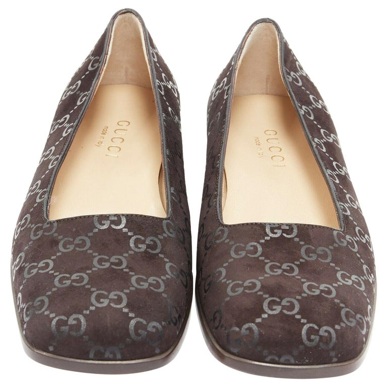 new GUCCI Vintage brown monogram printed black suede square toe loafer EU36.5C For Sale