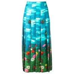 New GUCCI Vita Garden Pleated Silk Midi Skirt IT36 US 0-2