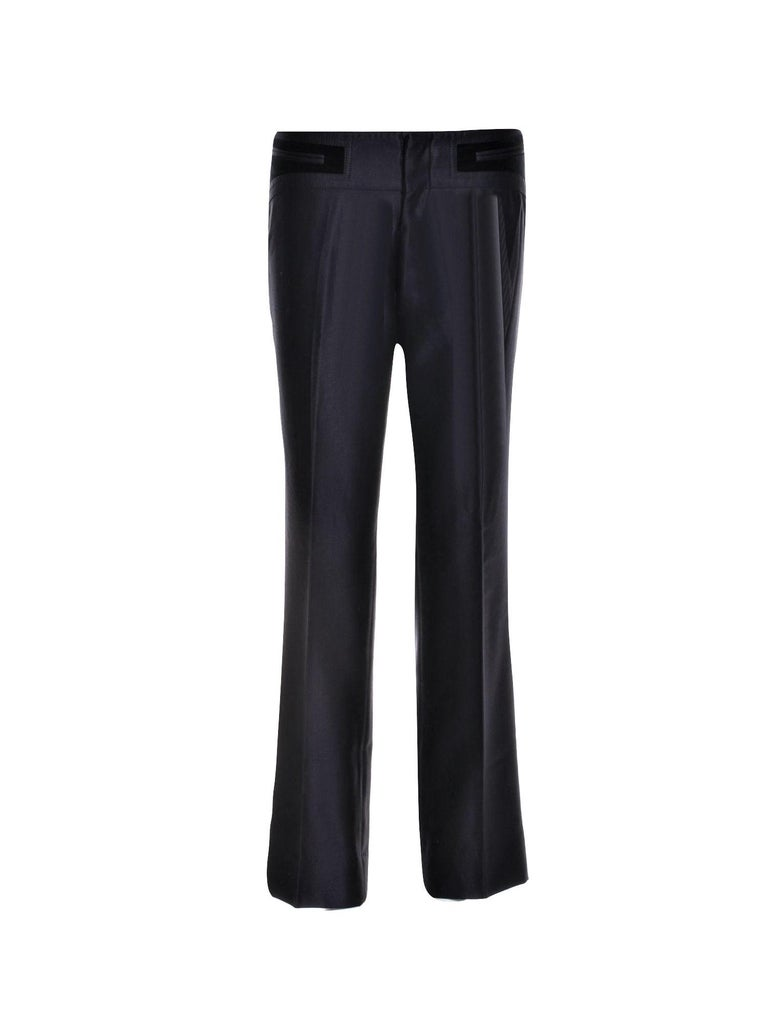Rare First Collection for Gucci post Tom Ford's departure Worn by most of the models for the Fall/Winter 2005 Collection Black & Velvet Pants  Combo Wool & Silk Featured in Many Print Ads Italian Sz 44  Roughly U.S Sz 8 Please use exact measurements