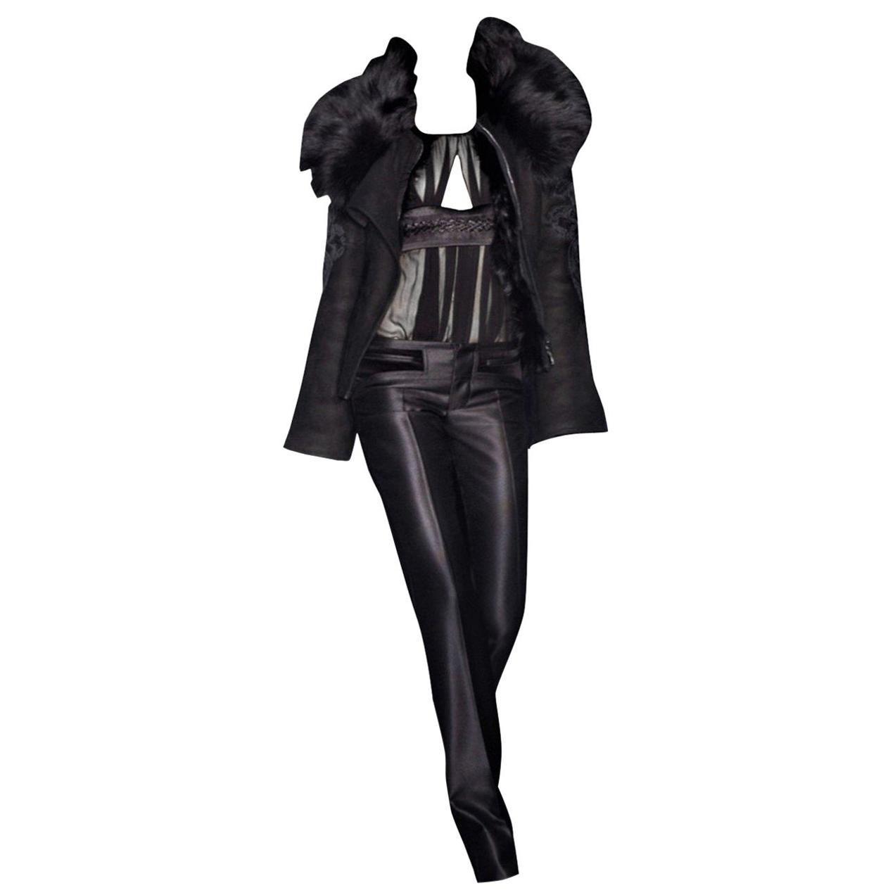 New Gucci Wool & Silk Runway Pants F / W 2005 Sz 44 U.S. 8
