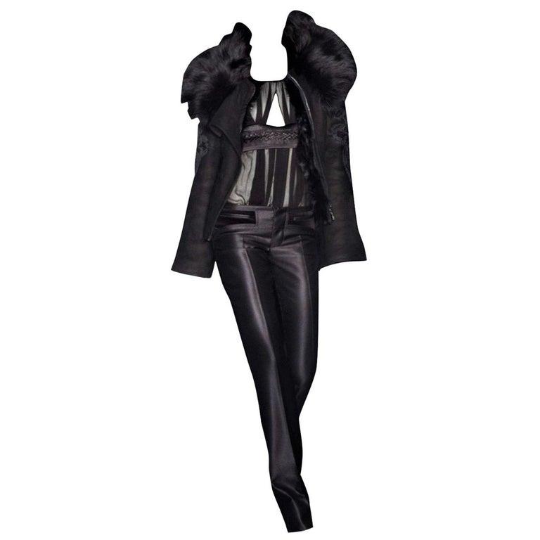 New Gucci Wool & Silk Runway Pants F / W 2005 Sz 44 U.S. 8 For Sale