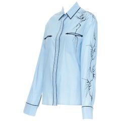 new HAIDER ACKERMANN blue cotton oriental bamboo embroidered sleeve shirt Fr38