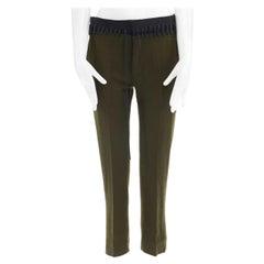 new HAIDER ACKERMANN khaki green wool faux detached laced waistband pant FR34 XS
