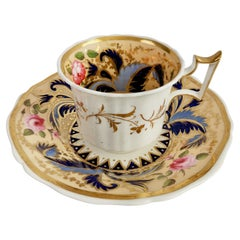 New Hall Coffee Cup, Cream with Blue Acanthus and Pink Roses, Regency 1827