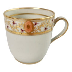 New Hall Orphaned Porcelain Coffee Cup, White with Gilt, Georgian, ca 1795
