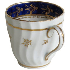 New Hall Porcelain Coffee Cup Shanked and Fluted Body Hand-Painted, circa 1795