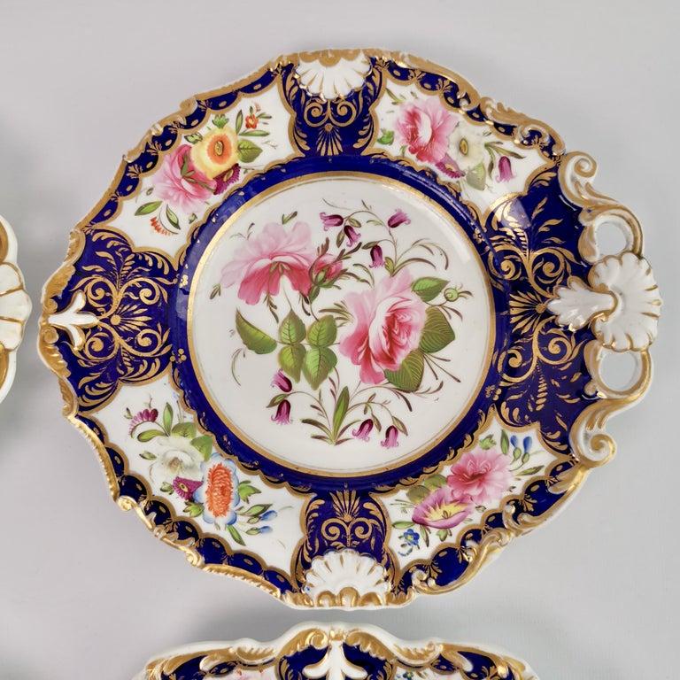 New Hall Porcelain Dessert Service, Cobalt Blue with Flowers, Regency 1824-1830 6