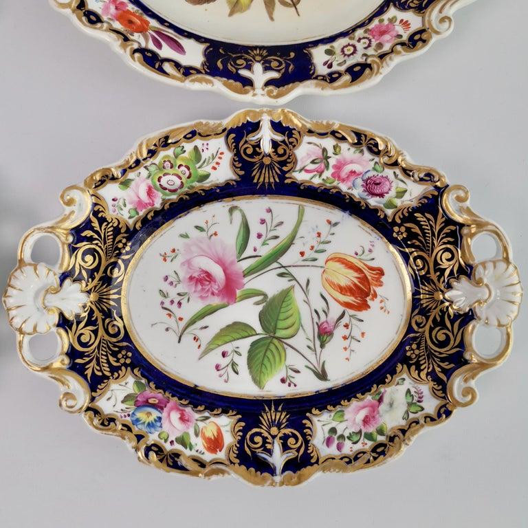 New Hall Porcelain Dessert Service, Cobalt Blue with Flowers, Regency 1824-1830 7