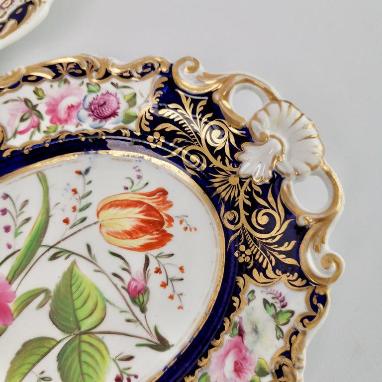 New Hall Porcelain Dessert Service, Cobalt Blue with Flowers, Regency 1824-1830 8