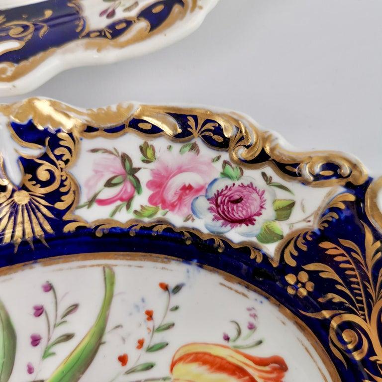 New Hall Porcelain Dessert Service, Cobalt Blue with Flowers, Regency 1824-1830 9