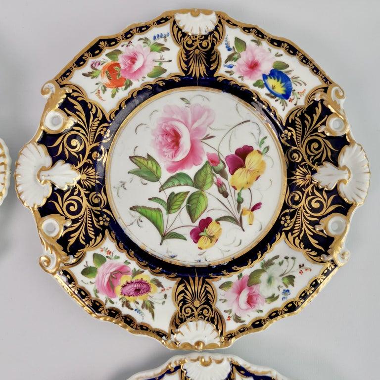 New Hall Porcelain Dessert Service, Cobalt Blue with Flowers, Regency 1824-1830 10