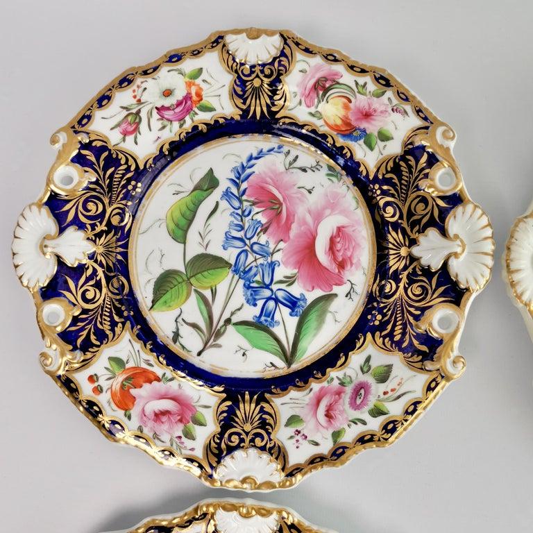 New Hall Porcelain Dessert Service, Cobalt Blue with Flowers, Regency 1824-1830 11