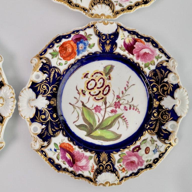 New Hall Porcelain Dessert Service, Cobalt Blue with Flowers, Regency 1824-1830 12