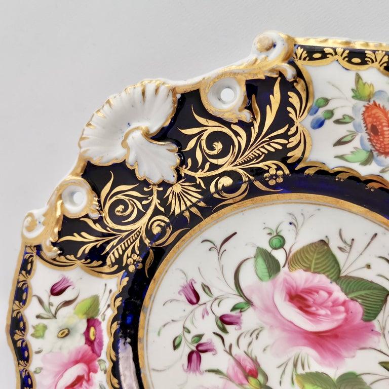 New Hall Porcelain Dessert Service, Cobalt Blue with Flowers, Regency 1824-1830 13
