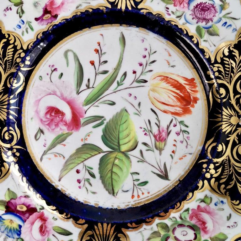 New Hall Porcelain Dessert Service, Cobalt Blue with Flowers, Regency 1824-1830 14
