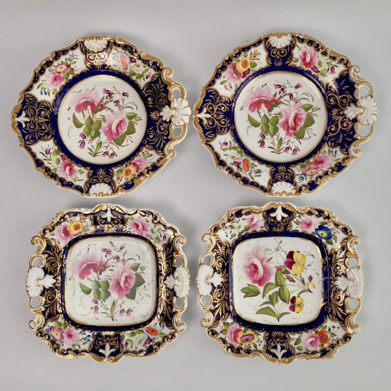 English New Hall Porcelain Dessert Service, Cobalt Blue with Flowers, Regency 1824-1830