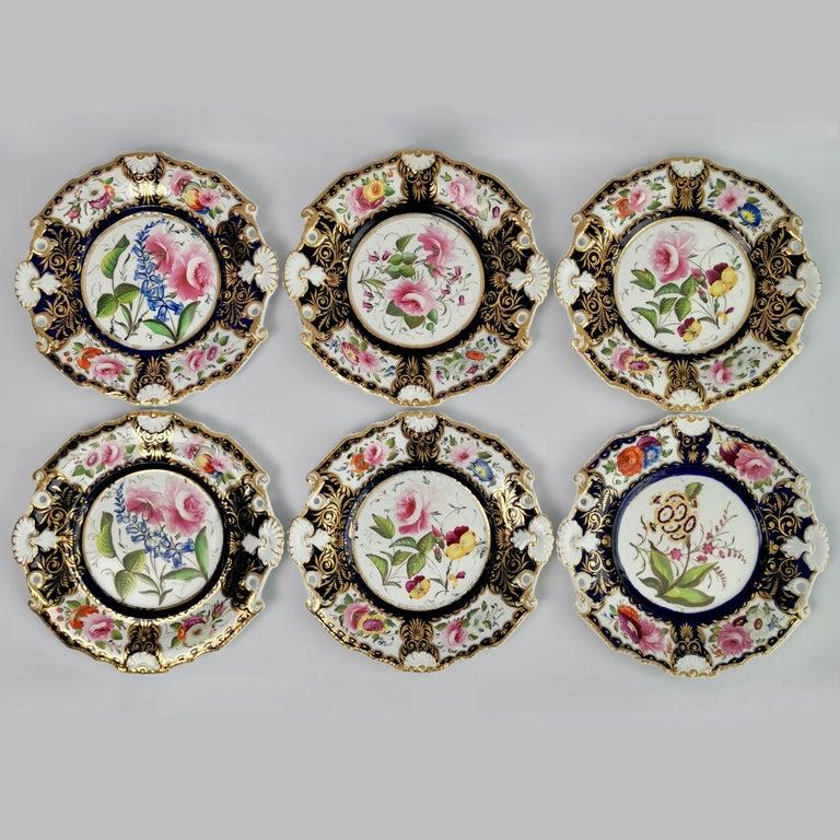 New Hall Porcelain Dessert Service, Cobalt Blue with Flowers, Regency 1824-1830 1