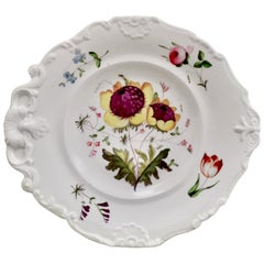 New Hall Porcelain Plate, White with Flowers, Inverted Shell, Regency circa 1820