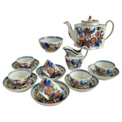 New Hall Porcelain Tea Service, Chinoiserie Flower Sprays, Georgian, circa 1795