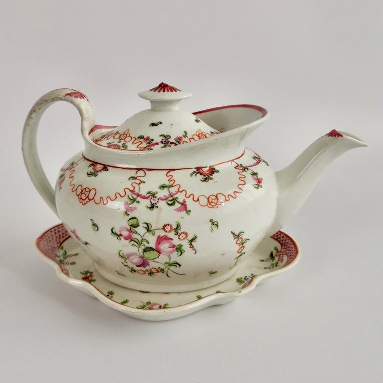 English New Hall Porcelain Tea Service Knitting Wool Pattern Georgian Regency circa 1800 For Sale