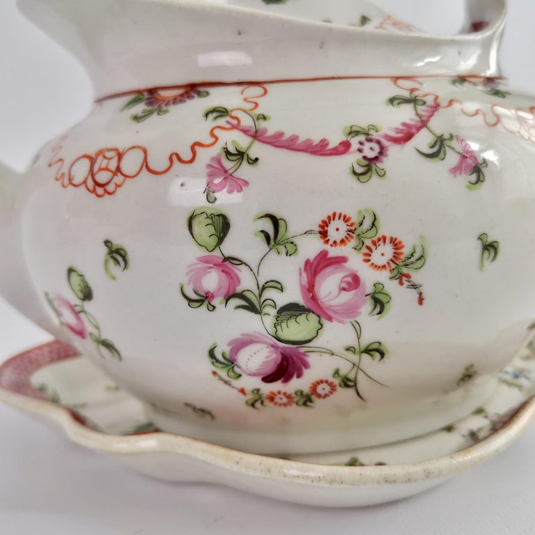 Hand-Painted New Hall Porcelain Tea Service Knitting Wool Pattern Georgian Regency circa 1800 For Sale