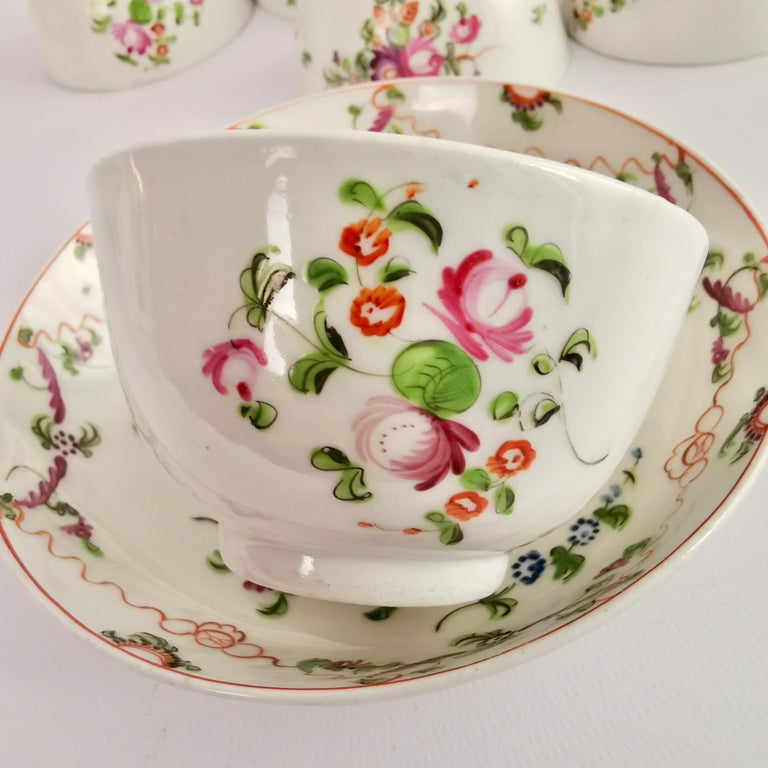 New Hall Porcelain Tea Service Knitting Wool Pattern Georgian Regency circa 1800 For Sale 3