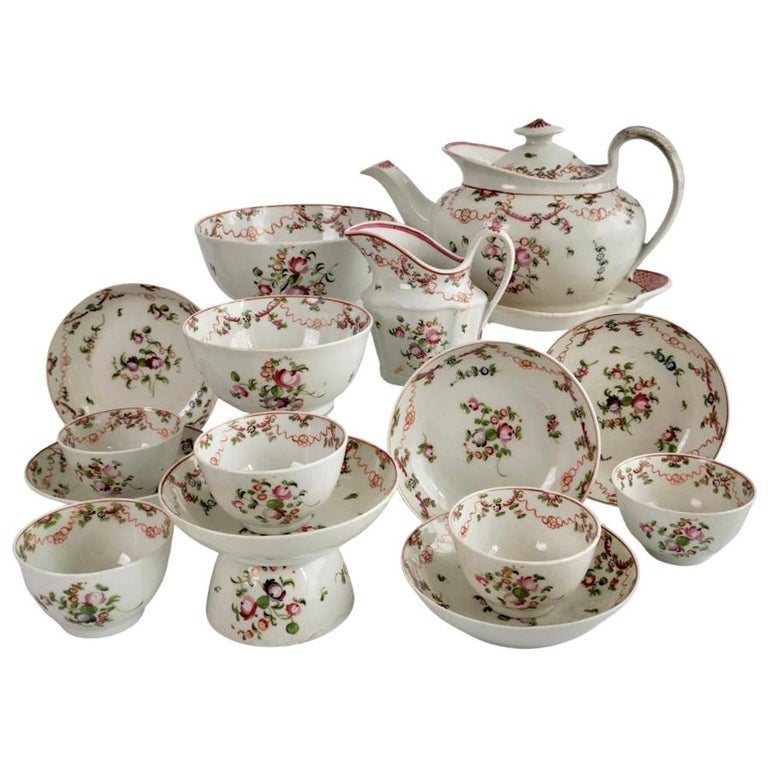 New Hall Porcelain Tea Service Knitting Wool Pattern Georgian Regency circa 1800 For Sale