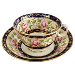New Hall Porcelain Teacup, Cobalt Blue with Pink Roses, Regency, circa 1815 '1'