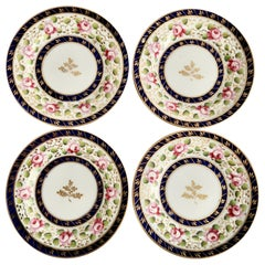 New Hall Set of 4 Porcelain Tea Plates, Cobalt Blue, Pink Roses, Regency