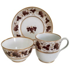 New Hall Teacup Trio, Hybrid Paste, Brown and Gilt Vines, Georgian, circa 1790
