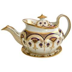 New Hall Teapot, Boat Shape Regency Style, circa 1810