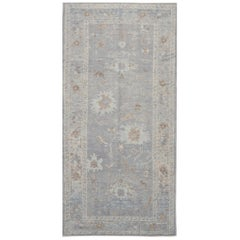New Hand Knotted Gallery Size Wool Gray Oushak Runner Rug