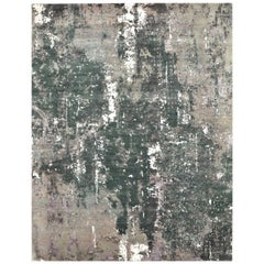 New Hand-Knotted Wool and Silk Modern Design Rug