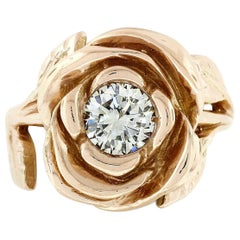 New Handmade 18k Pink Gold 0.72ct Round Diamond Rose Flower & Engraved Leaf Ring