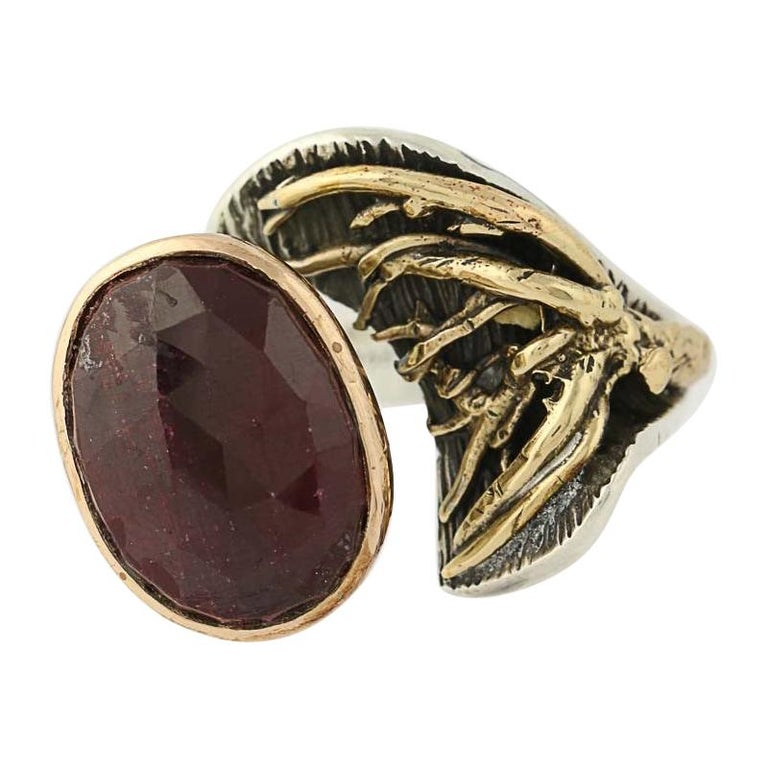 For Sale: undefined New Handmade Bora Ring Ruby Sterling Silver Bronze