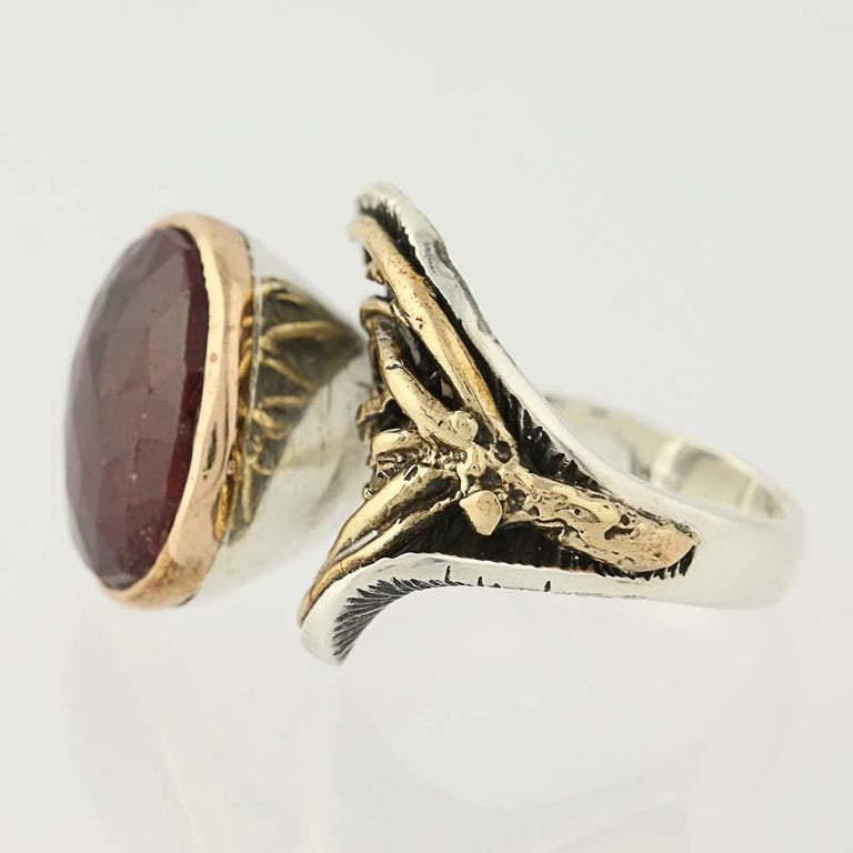 For Sale: undefined New Handmade Bora Ring Ruby Sterling Silver Bronze 2