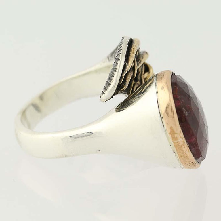 For Sale: undefined New Handmade Bora Ring Ruby Sterling Silver Bronze 3
