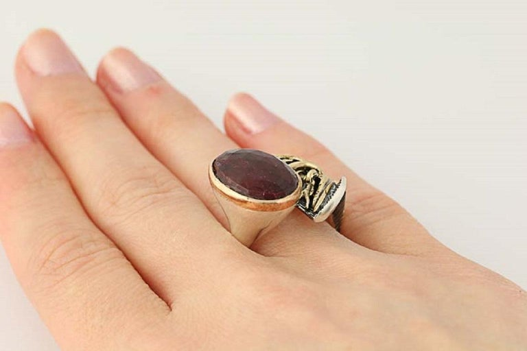 For Sale: undefined New Handmade Bora Ring Ruby Sterling Silver Bronze 4