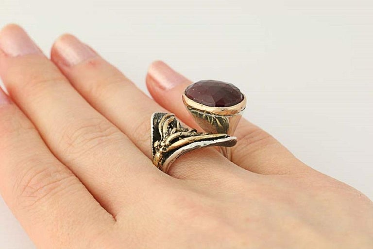 For Sale: undefined New Handmade Bora Ring Ruby Sterling Silver Bronze 5