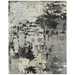 New Handmade Wool and Silk Modern Contemporary Design Rug
