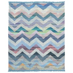 New Handwoven Turkish Kilim Rug with Colorful Chevron Pattern