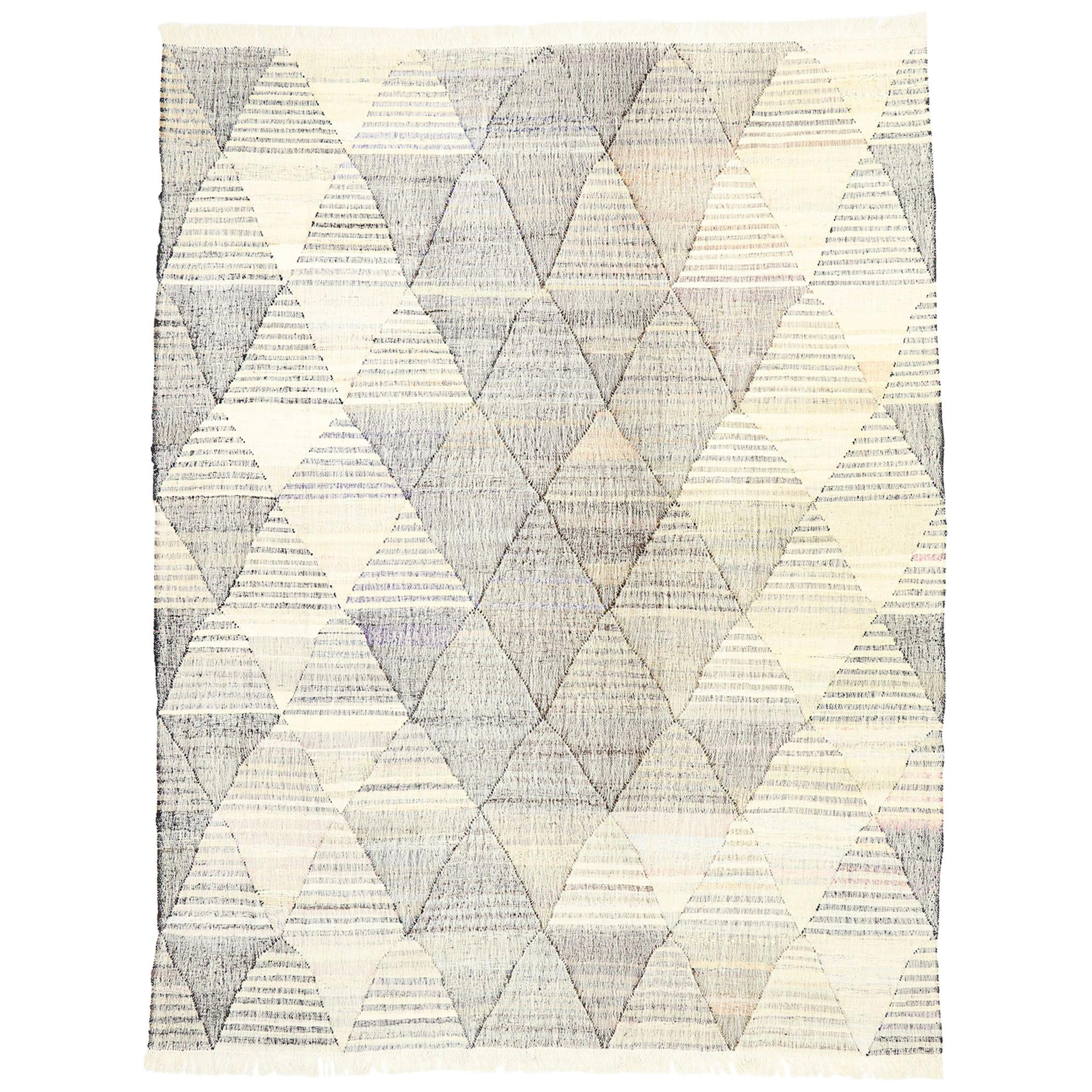 New Handwoven Turkish Kilim Rug with Triangle Pattern