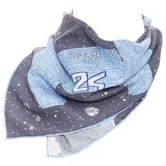 new HERMES 100% silk Odyssey pocket square 45 blue space craft print scarf