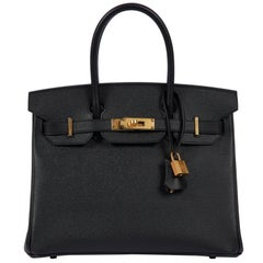 New Hermès 30cm Black Togo Gold Birkin Bag in Box