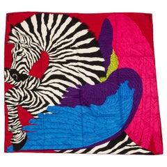 "New Hermes 54"" Cashmere Zebra Pegasus Shawl in Box"