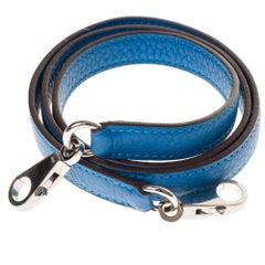 NEW - Hermès bag strap in Hydra grained leather, silver Palladium hardware