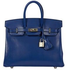 New Hermes Birkin 25 Electric Blue Bag in Box
